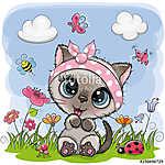 Cute Cartoon Kitten girl on a meadow (id: 18965)