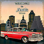 Welcome to Austin retro poster.Печать (id: 19165)
