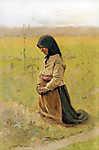 Mednyánszky László: Térdelő nő (tanulmány) (id: 20065) falikép keretezve