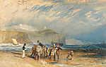 William Turner: Folkestone kikötéje és a Doveri fehér sziklák (színverzió 1) (id: 20465) többrészes vászonkép