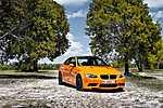 Narancssárga BMW a fák közt (id: 2365) falikép keretezve