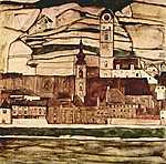Egon Schiele: Templom a Dunánál (id: 2465) vászonkép óra