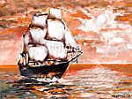 Hajózás óceánban, fehér vitorlákkal, olajfestés. napnyugta (id: 10266) többrészes vászonkép