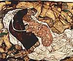 Egon Schiele: Egy asszony és a Halál (id: 1066) falikép keretezve
