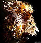 Digital painting of a lion's head. Vector illustration vászonkép, poszter vagy falikép