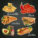 Mexikói étel és konyha. Vektor készlet. Mexikó (id: 12766)