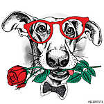Portrait of a funny dog in glasses and tie with red rose. Vector (id: 14466) tapéta