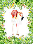 Pink flamingo watercolor hand drawn illustration in arrangement vászonkép, poszter vagy falikép