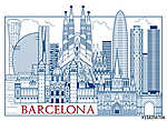 Barcelona Attractions. Handmade drawing vector illustration. All vászonkép, poszter vagy falikép