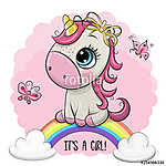 Cartoon Unicorn is on the rainbow (id: 18766) tapéta