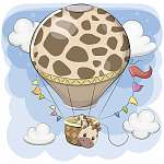 Cute Giraffe is flying on a hot air balloon (id: 19066) poszter