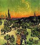 Vincent Van Gogh: Tájkép sétáló párral és félholddal (id: 366) poszter
