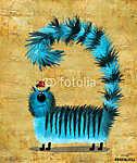 Kék csendes macska a fejjel lefelé keresztezve (id: 5266) vászonkép óra