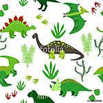 Aranyos dinoszauruszok zökkenőmentes mintázata. Vektoros háttér  (id: 11367) falikép keretezve