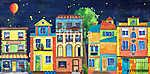 Éjszakai házak (akvarell) (id: 12367) vászonkép óra
