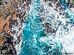Sziklák és hullámok (légifotó) (id: 12667) vászonkép óra