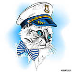 Portrait cat in a sailor's cap and tie on blue background. Vecto (id: 14467) tapéta