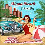 Miami Beach, Florida retro poster. (id: 19167) tapéta