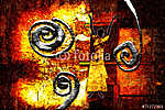 afro motívum etnikai retro vintage (id: 7267) vászonkép óra