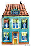 Kis ház rajz (akvarell) (id: 12368) többrészes vászonkép