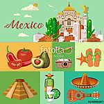 Vector színes kártya Mexikóról. Utazás plakát mexikói it (id: 12768) többrészes vászonkép