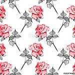 Floral seamless pattern. Watercolor background with roses 17 (id: 14168) poszter
