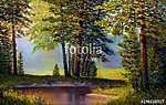 Landscape, mountain river.  Picture oil paints on a canvas. (id: 16068) poszter