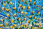 Details of acrylic paintings showing colour, textures and techniques. Expressionistic  tree branches with yellow spring blossom. (id: 16168) tapéta