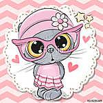 Cute Cat girl in pink eyeglasses (id: 18968) poszter