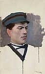 Mednyánszky László: Sapkás férfi portréja (id: 19968) falikép keretezve