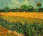 Paul Cézanne: Arles látképe íriszekkel az előtérben, 1888 (id: 268) vászonkép