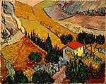 Vincent Van Gogh: Tájkép házzal és földművessel (id: 368) vászonkép