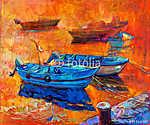 Hajók és móló (id: 4368) többrészes vászonkép