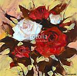 Fehér és vörös rózsa, kézzel festett (id: 10869)