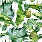 Seamless watercolor illustration of tropical leaves and pineappl vászonkép, poszter vagy falikép