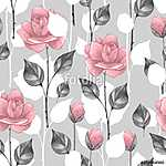 Floral seamless pattern 8. Watercolor background with roses (id: 14069) tapéta