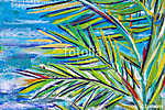 Details of acrylic paintings showing colour, textures and techniques. Expressionistic palm tree foliage and blue sea background vászonkép, poszter vagy falikép