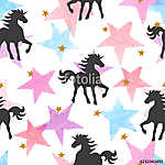 Vector seamless pattern with unicorns and colorful watercolor stars. (id: 18669) vászonkép óra
