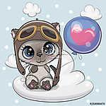 Cute Cartoon Kitten boy with Balloon (id: 18969) többrészes vászonkép