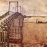 Egon Schiele: Híd (id: 2469) vászonkép óra