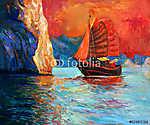 Kínai hajó (id: 4369) többrészes vászonkép