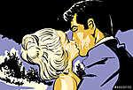 Vázlat fiatal pár férfi és nő szerelmes csókolózni (id: 5569) poszter