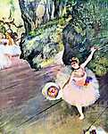 Edgar Degas: Balett-táncosnő virágcsokorral (id: 869) vászonkép