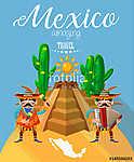 Vector színes kártya Mexikóról. Utazás plakát mexikói it (id: 12770) poszter