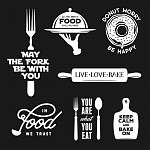 Food related typography set. Quotes about cooking. Vintage vecto (id: 13670) tapéta