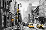 oil painting on canvas, street view of New York, man and woman,  (id: 15170) tapéta