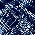 Abstract dark blue geometry background. White lines on hand painted grunge texture. vászonkép, poszter vagy falikép