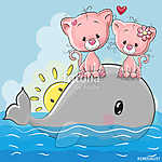 Cute Cartoon Kittens are sitting on the whale (id: 19070) többrészes vászonkép