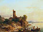 Olasz tájkép, halászokkal a tavon (színverzió 1.) (id: 19870) falikép keretezve
