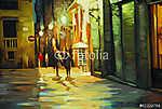 eső a barcelónai gótikus negyedben, olajfestés, illustrati (id: 4970)